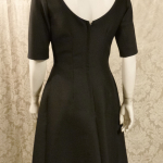 Vintage 1950s B. Altman & Co. Fifth Ave New York black cocktail dress bow scoop back  (5)