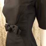 Vintage 1950s B. Altman & Co. Fifth Ave New York black cocktail dress bow scoop back  (10)