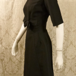 Vintage 1950s B. Altman & Co. Fifth Ave New York black cocktail dress bow scoop back  (4)