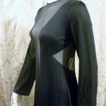 1970s vintage ralph montenero plunge front keyhole back sheer black negligee  (12)