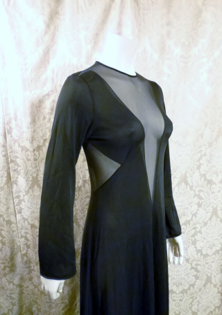 1970s vintage ralph montenero plunge front keyhole back sheer black negligee  (13)