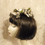 Vintage ivory velvet floral casque hat topper wedding bride  (6)