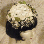 Vintage ivory velvet floral casque hat topper wedding bride  (7)