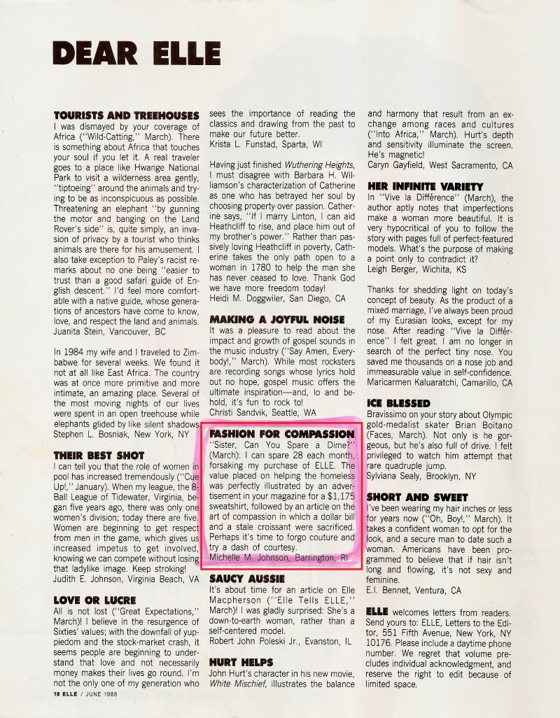 Elle June 1988 Dear Elle Fashion for Compassion by Michelle Johnson
