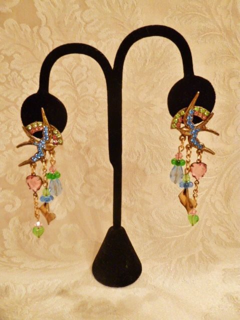 Vintage Banana Bob Birds in Flight chandelier earrings  (3)