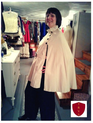 Reed McLaren of House of Ama in her vintage 1960s mod cape from The Red Velvet Shoe.