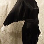 1980's All That Jazz dolman sleeve batwing sleeve black stain 1940s style cocktail dress (5)