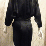 1980s All That Jazz dolman sleeve batwing sleeve black satin 1940s style cocktail dress (5)