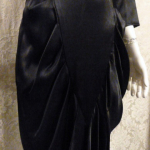 1980s All That Jazz dolman sleeve batwing sleeve black satin 1940s style cocktail dress (4)