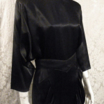 1980s All That Jazz dolman sleeve batwing sleeve black satin 1940s style cocktail dress (2)