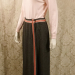 Vintage 1970s Agile Florence Walsh slate grey wool maxi wrap skirt red pink ribbon stripe trim (3)